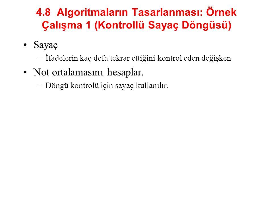 4.8 Algoritmaların Tasarlanması: Örnek Çalışma 1 (Kontrollü Sayaç Döngüsü) Sayaç –İfadelerin kaç defa tekrar ettiğini kontrol eden değişken Not ortalamasını hesaplar.