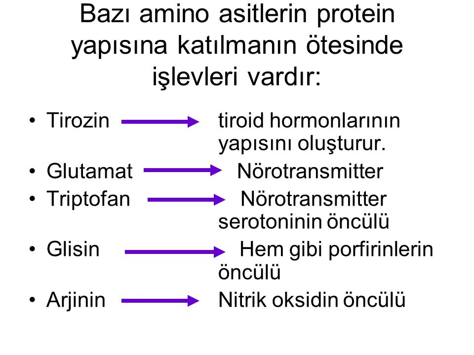 Bazı amino asitlerin protein yapısına katılmanın ötesinde işlevleri vardır: Tirozin tiroid hormonlarının yapısını oluşturur. Glutamat Nörotransmitter