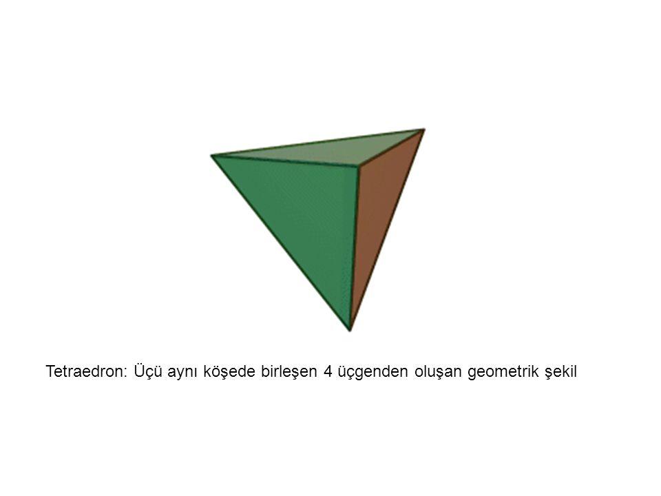 Tetraedron: Üçü aynı köşede birleşen 4 üçgenden oluşan geometrik şekil