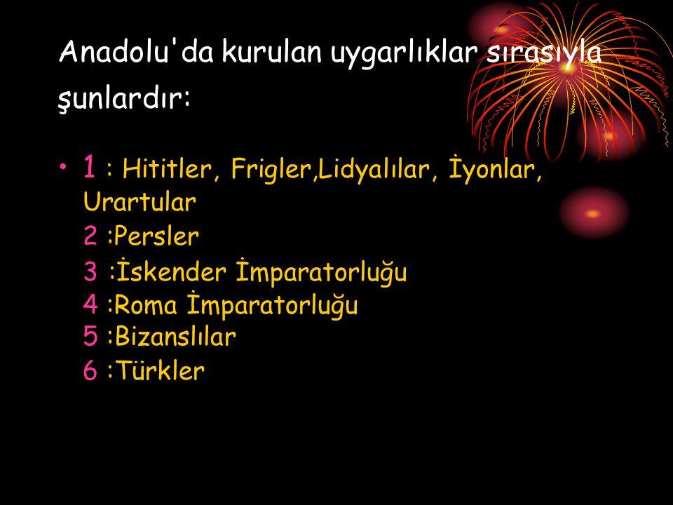 Anadolu'da kurulan uygarlıklar sırasıyla şunlardır: 1 : Hititler, Frigler,Lidyalılar, İyonlar, Urartular 2 :Persler 3 : İskender İmparatorluğu 4 :Roma