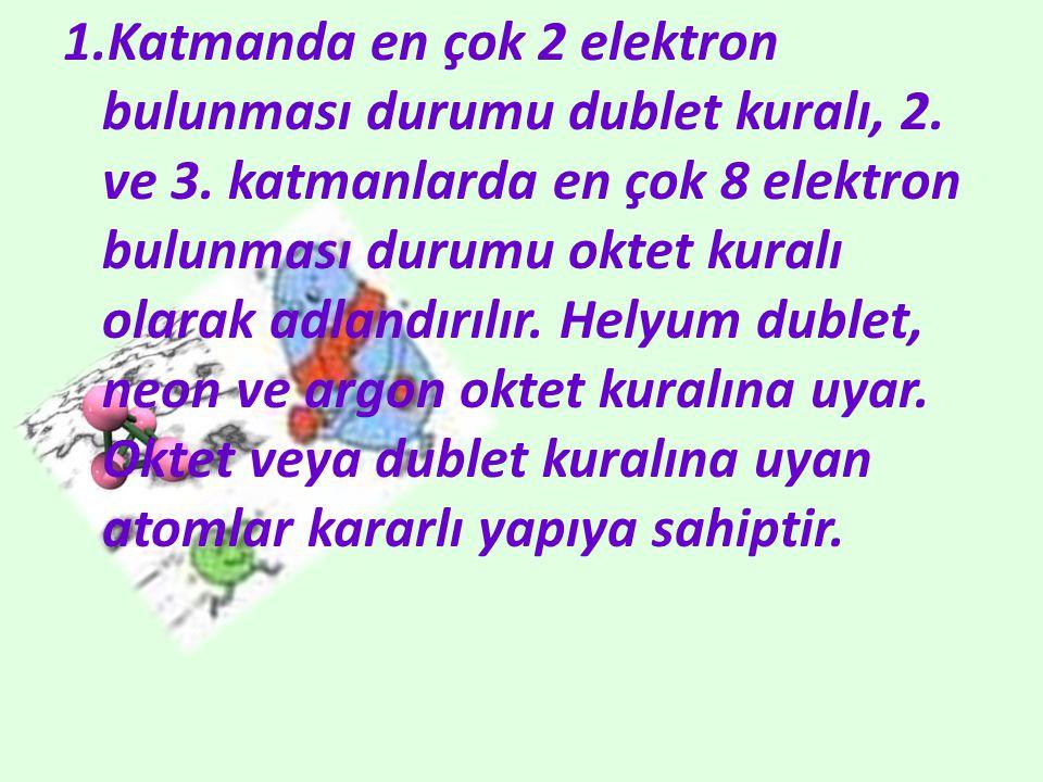 1.Katmanda en çok 2 elektron bulunması durumu dublet kuralı, 2. ve 3. katmanlarda en çok 8 elektron bulunması durumu oktet kuralı olarak adlandırılır.