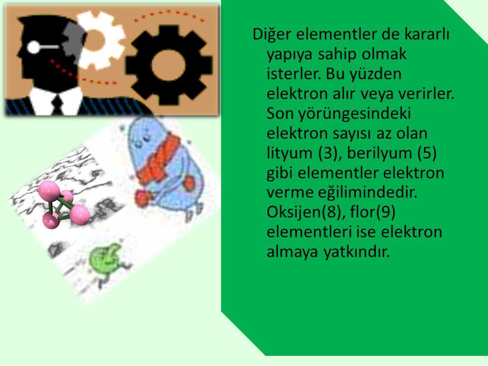 Diğer elementler de kararlı yapıya sahip olmak isterler. Bu yüzden elektron alır veya verirler. Son yörüngesindeki elektron sayısı az olan lityum (3),