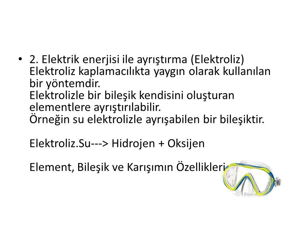 2. Elektrik enerjisi ile ayrıştırma (Elektroliz) Elektroliz kaplamacılıkta yaygın olarak kullanılan bir yöntemdir. Elektrolizle bir bileşik kendisini
