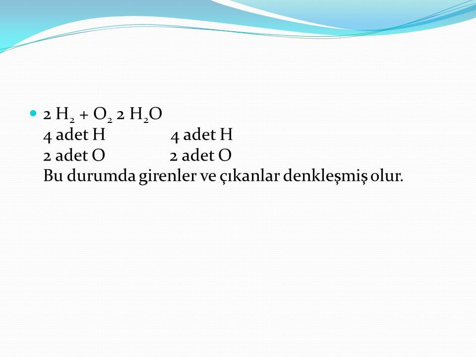 2 H 2 + O 2 2 H 2 O 4 adet H 4 adet H 2 adet O 2 adet O Bu durumda girenler ve çıkanlar denkleşmiş olur.