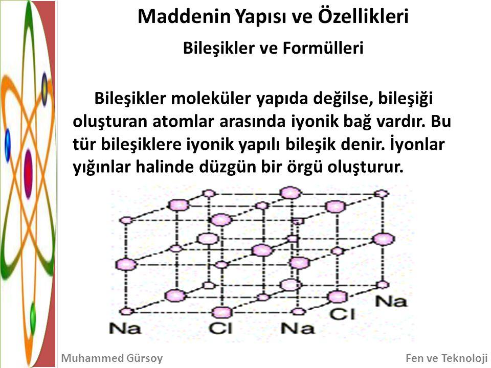 Maddenin Yapısı ve Özellikleri Bileşikler ve Formülleri Muhammed GürsoyFen ve Teknoloji Bileşikler moleküler yapıda değilse, bileşiği oluşturan atomlar arasında iyonik bağ vardır.