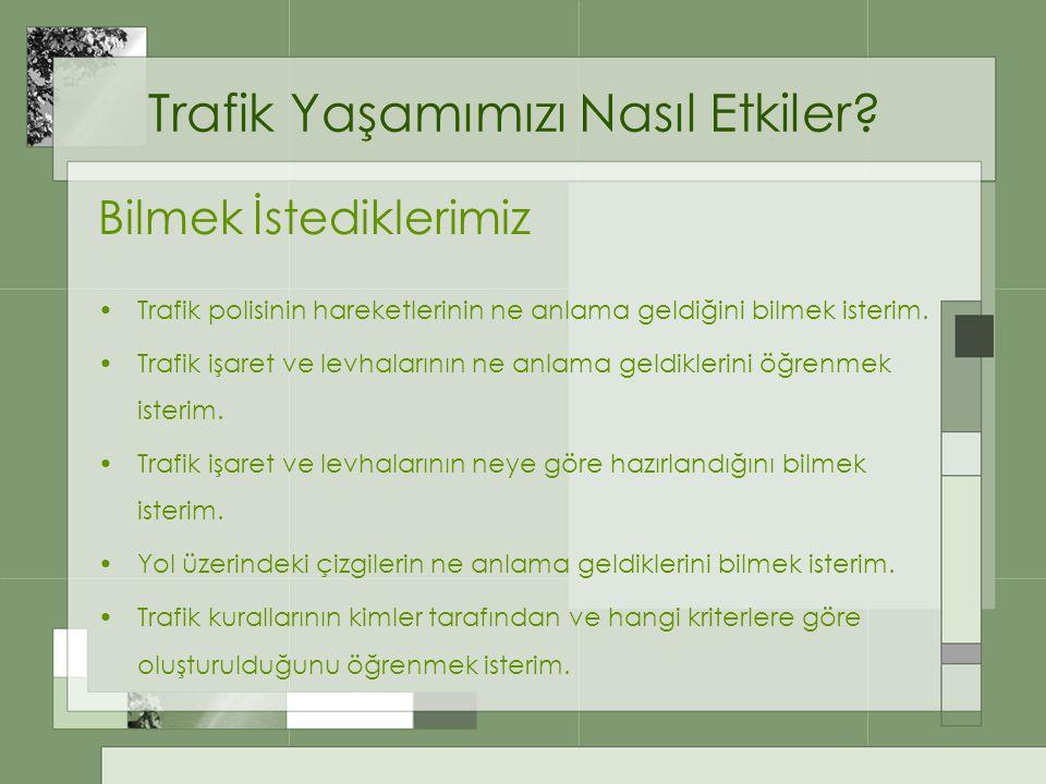 Trafik Yaşamımızı Nasıl Etkiler? Bilmek İstediklerimiz Trafik polisinin hareketlerinin ne anlama geldiğini bilmek isterim. Trafik işaret ve levhaların