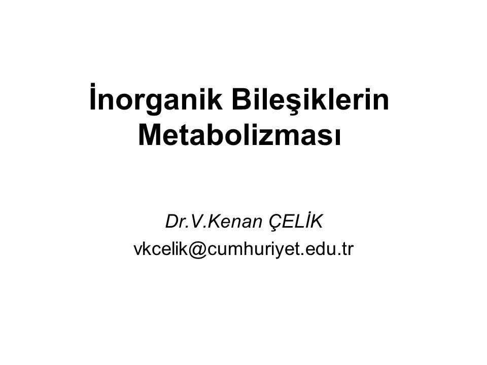İnorganik Bileşiklerin Metabolizması Dr.V.Kenan ÇELİK vkcelik@cumhuriyet.edu.tr