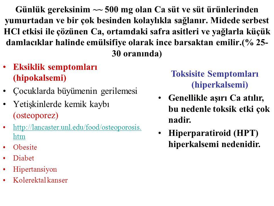 Günlük gereksinim ~~ 500 mg olan Ca süt ve süt ürünlerinden yumurtadan ve bir çok besinden kolaylıkla sağlanır. Midede serbest HCl etkisi ile çözünen