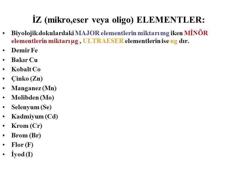 İZ (mikro,eser veya oligo) ELEMENTLER: Biyolojik dokulardaki MAJOR elementlerin miktarı mg iken MİNÖR elementlerin miktarı µg, ULTRAESER elementlerin