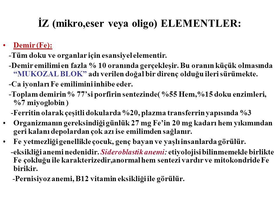 İZ (mikro,eser veya oligo) ELEMENTLER: Demir (Fe): -Tüm doku ve organlar için esansiyel elementir. -Demir emilimi en fazla % 10 oranında gerçekleşir.