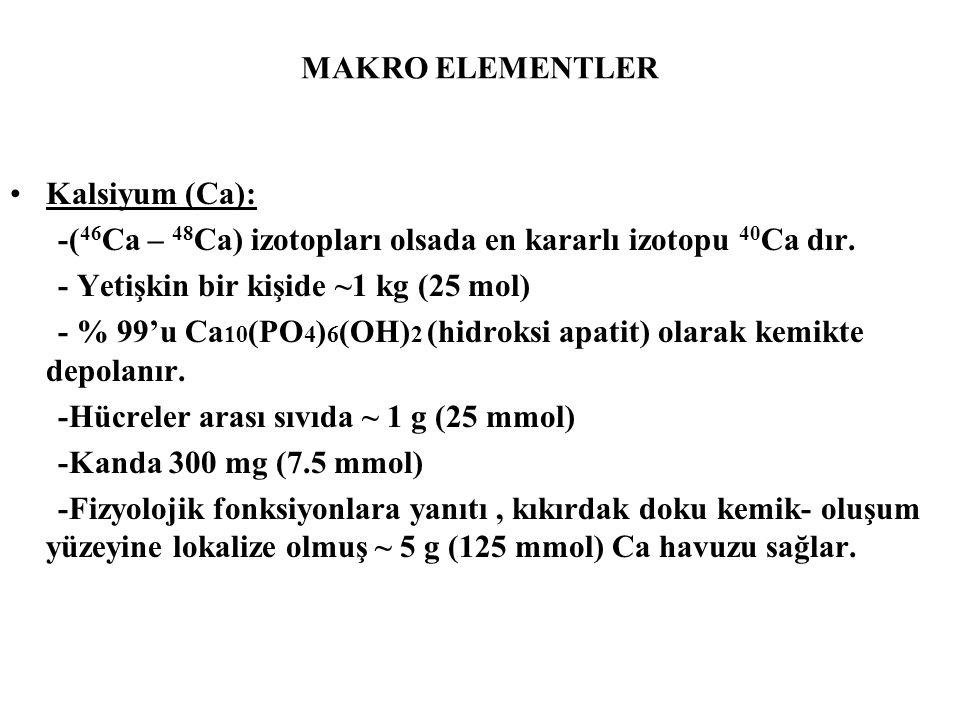 MAKRO ELEMENTLER Kalsiyum (Ca): -( 46 Ca – 48 Ca) izotopları olsada en kararlı izotopu 40 Ca dır. - Yetişkin bir kişide ~1 kg (25 mol) - % 99'u Ca 10
