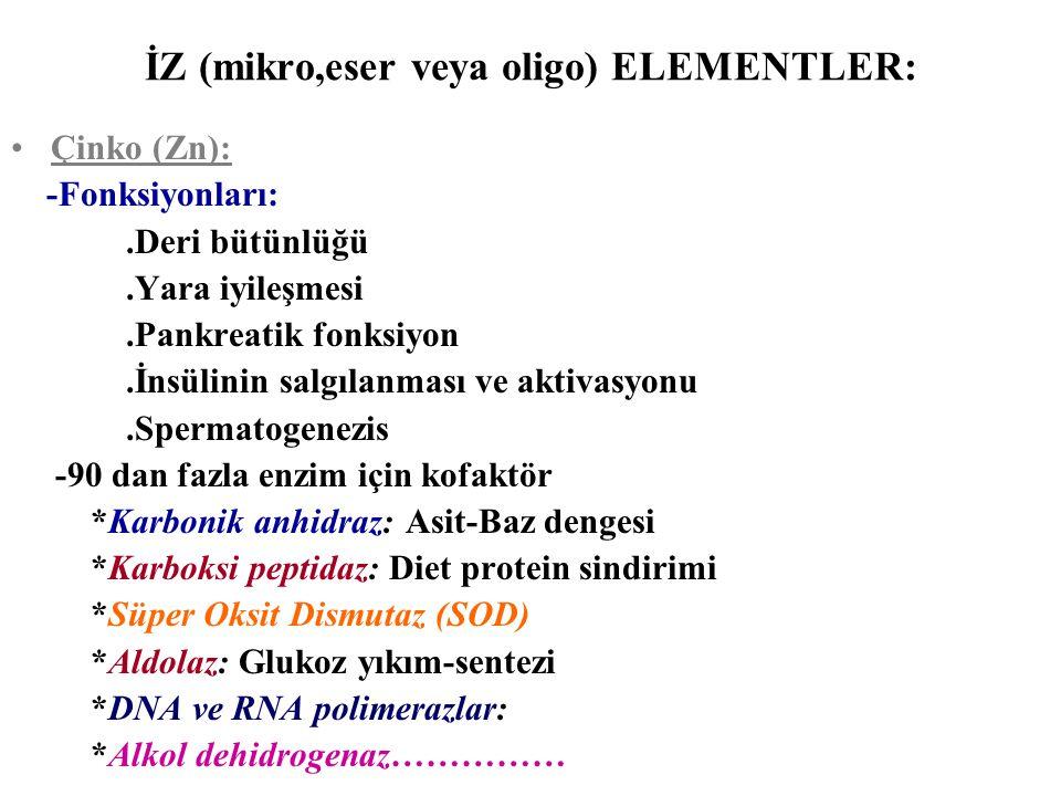 İZ (mikro,eser veya oligo) ELEMENTLER: Çinko (Zn): -Fonksiyonları:.Deri bütünlüğü.Yara iyileşmesi.Pankreatik fonksiyon.İnsülinin salgılanması ve aktiv