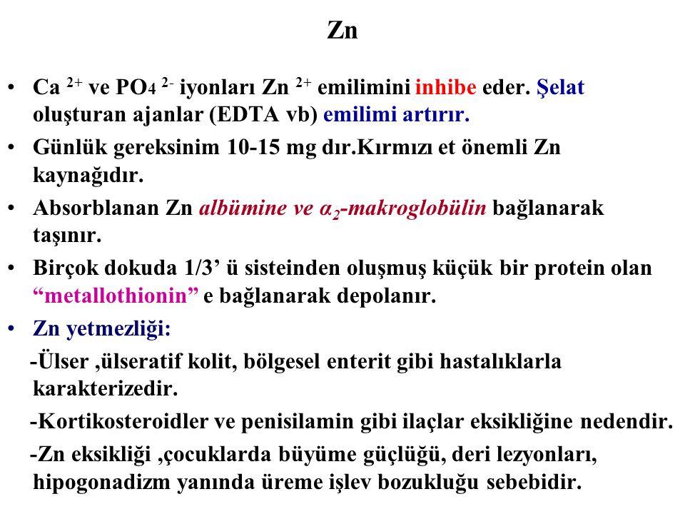 Zn Ca 2+ ve PO 4 2- iyonları Zn 2+ emilimini inhibe eder. Şelat oluşturan ajanlar (EDTA vb) emilimi artırır. Günlük gereksinim 10-15 mg dır.Kırmızı et