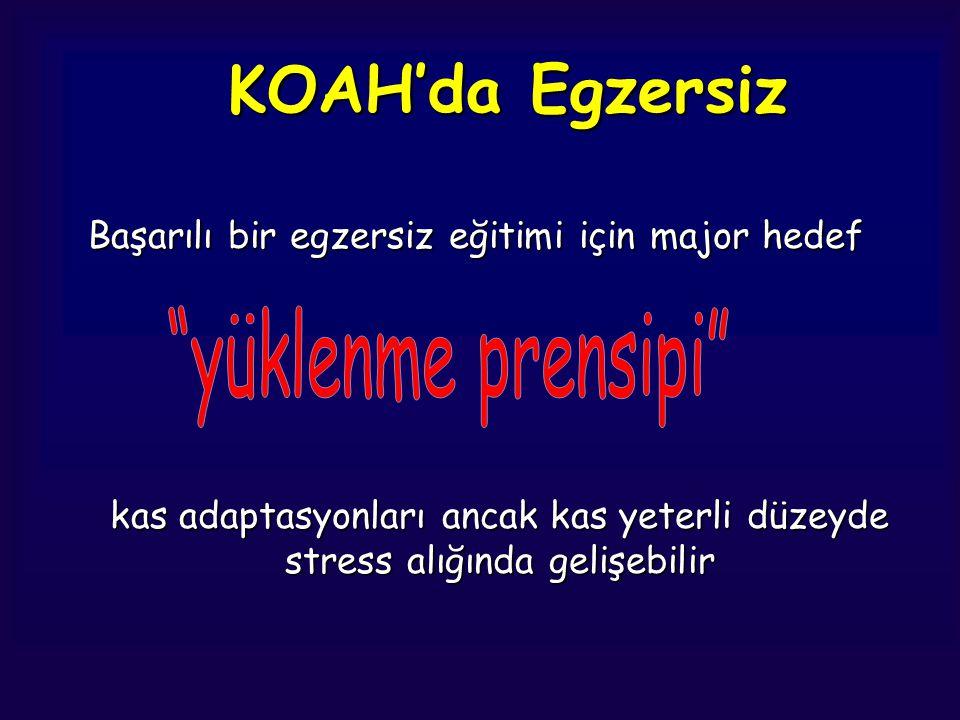 KOAH'da Egzersiz Başarılı bir egzersiz eğitimi için major hedef kas adaptasyonları ancak kas yeterli düzeyde stress alığında gelişebilir