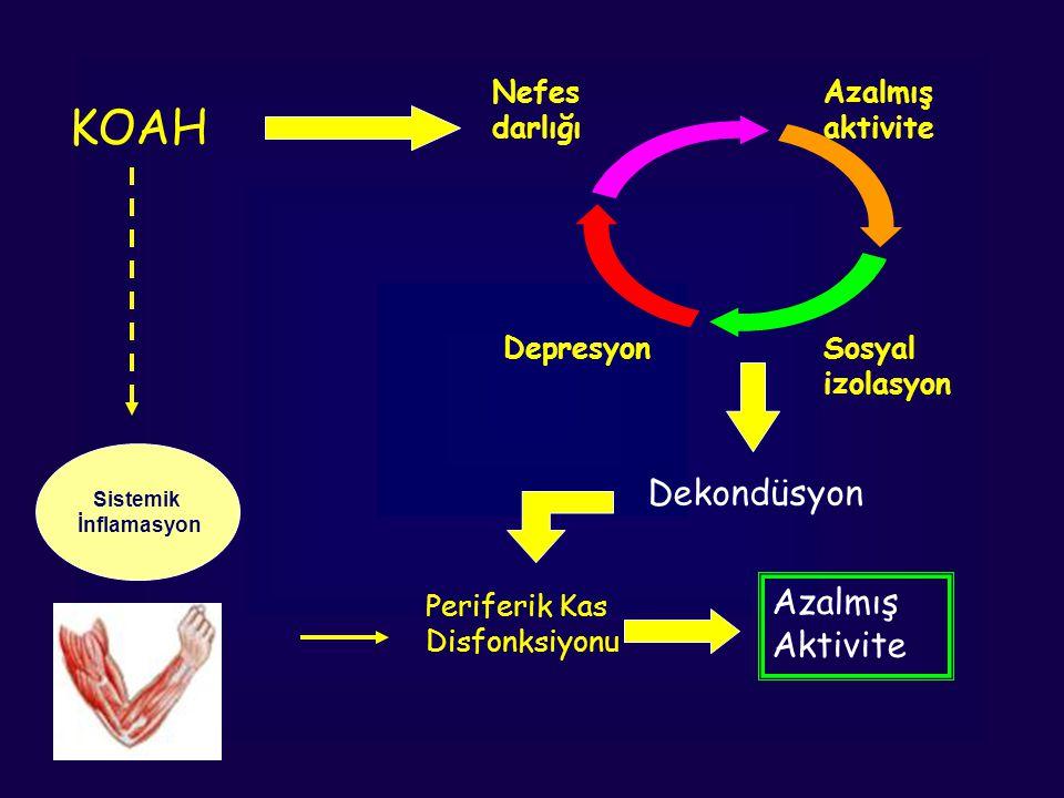 Nefes darlığı Azalmış aktivite Sosyal izolasyon Depresyon KOAH Dekondüsyon Periferik Kas Disfonksiyonu Azalmış Aktivite Sistemik İnflamasyon
