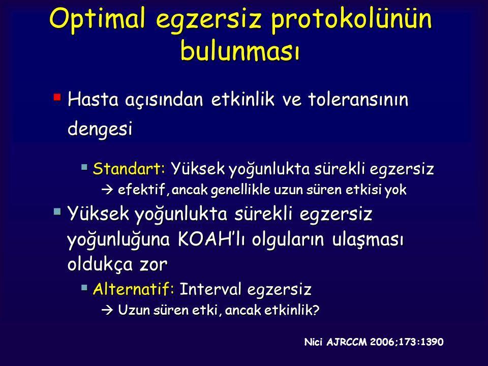 Optimal egzersiz protokolünün bulunması  Hasta açısından etkinlik ve toleransının dengesi  Standart: Yüksek yoğunlukta sürekli egzersiz  efektif, a