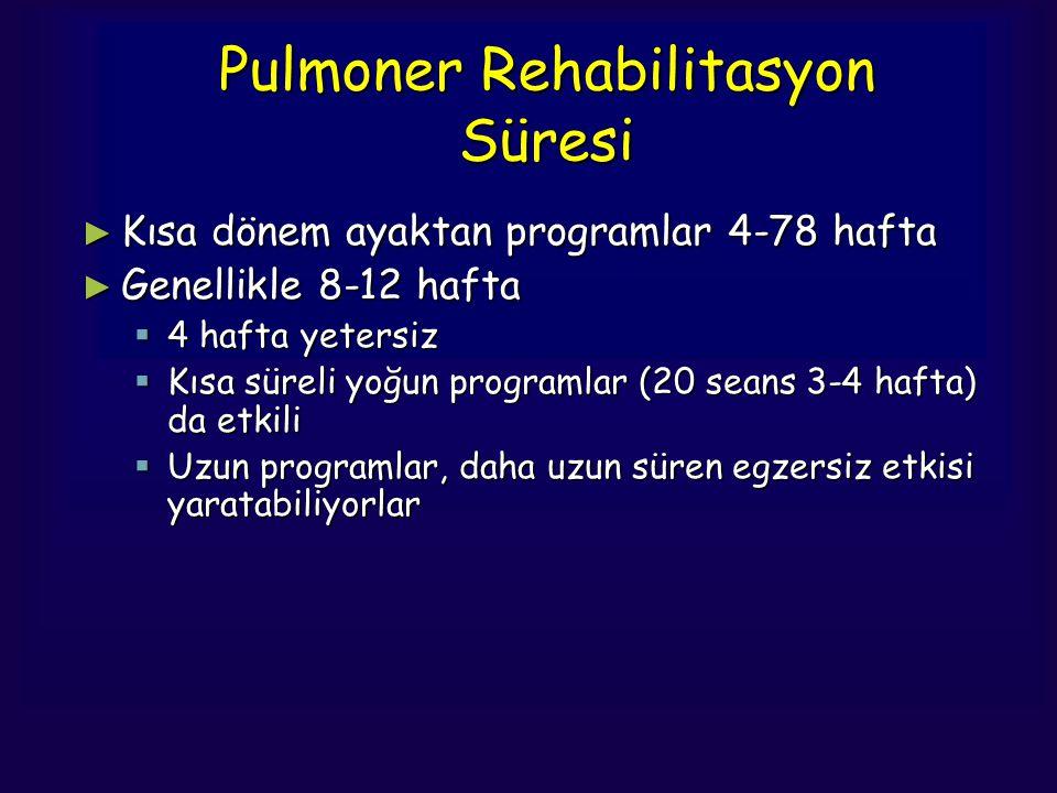 Pulmoner Rehabilitasyon Süresi ► Kısa dönem ayaktan programlar 4-78 hafta ► Genellikle 8-12 hafta  4 hafta yetersiz  Kısa süreli yoğun programlar (2