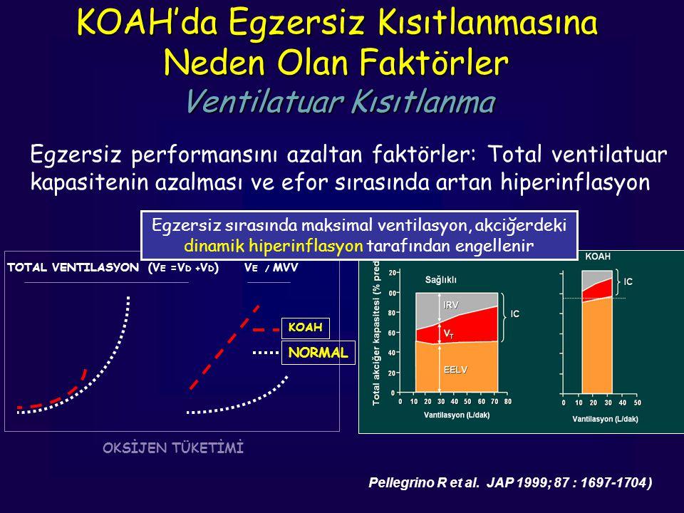 KOAH'da Egzersiz Kısıtlanmasına Neden Olan Faktörler Ventilatuar Kısıtlanma Egzersiz performansını azaltan faktörler: Total ventilatuar kapasitenin az