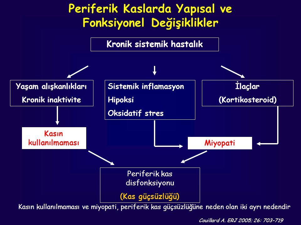 Couillard A. ERJ 2005; 26: 703-719 Kasın kullanılmaması ve miyopati, periferik kas güçsüzlüğüne neden olan iki ayrı nedendir Kronik sistemik hastalık