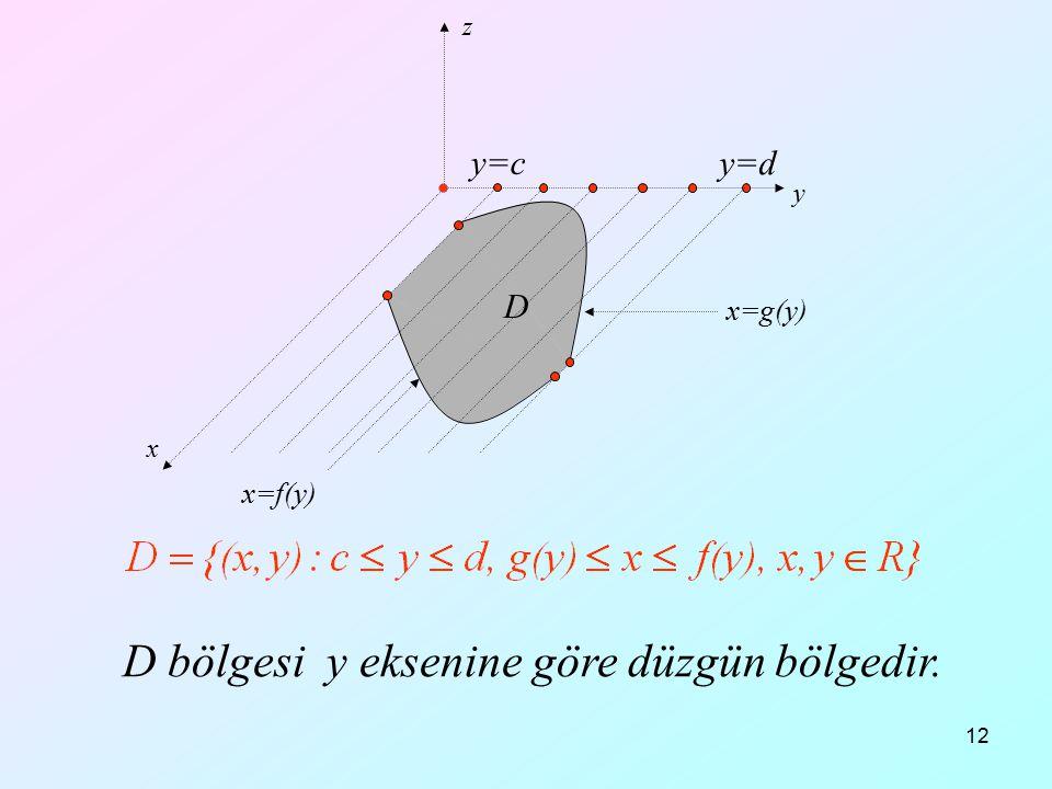 12 x y z y=c y=d D D bölgesi y eksenine göre düzgün bölgedir. x=f(y) x=g(y)
