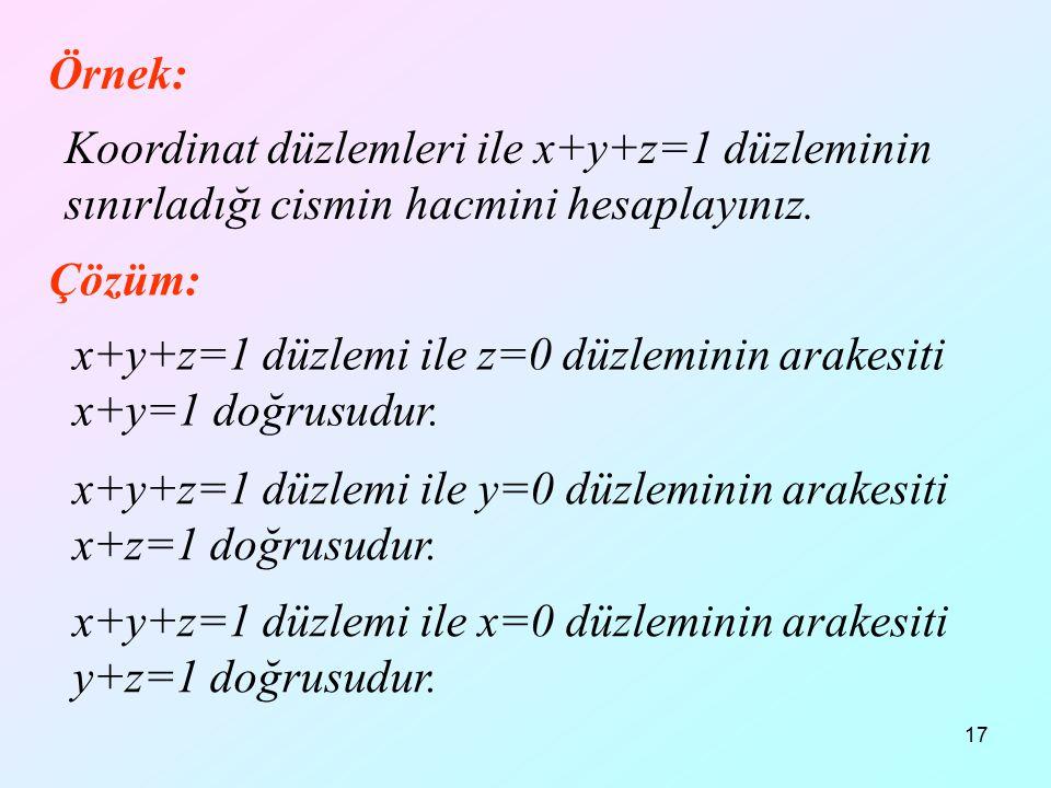 17 Örnek: Koordinat düzlemleri ile x+y+z=1 düzleminin sınırladığı cismin hacmini hesaplayınız. Çözüm: x+y+z=1 düzlemi ile z=0 düzleminin arakesiti x+y