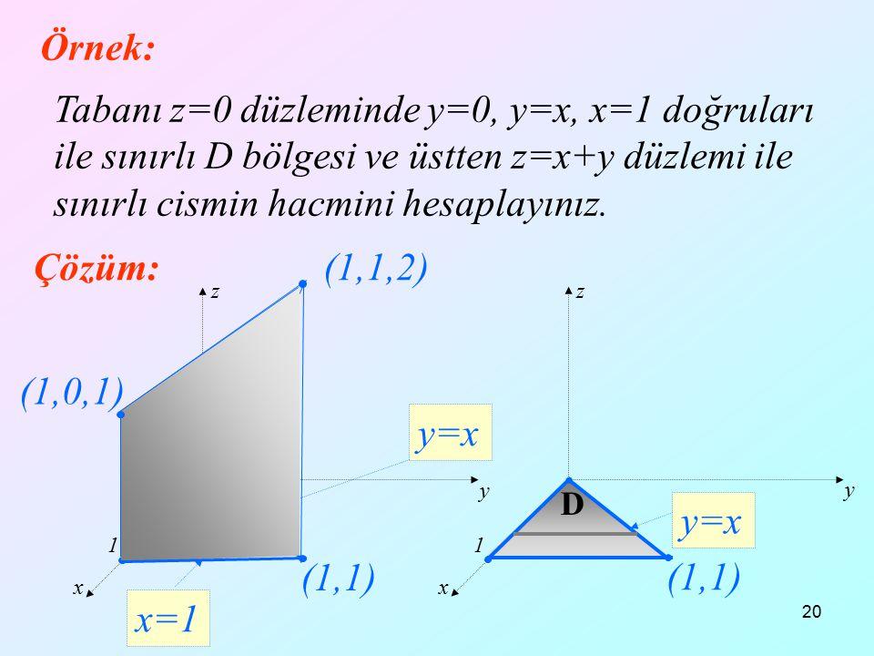 20 x y z Örnek: Tabanı z=0 düzleminde y=0, y=x, x=1 doğruları ile sınırlı D bölgesi ve üstten z=x+y düzlemi ile sınırlı cismin hacmini hesaplayınız. Ç