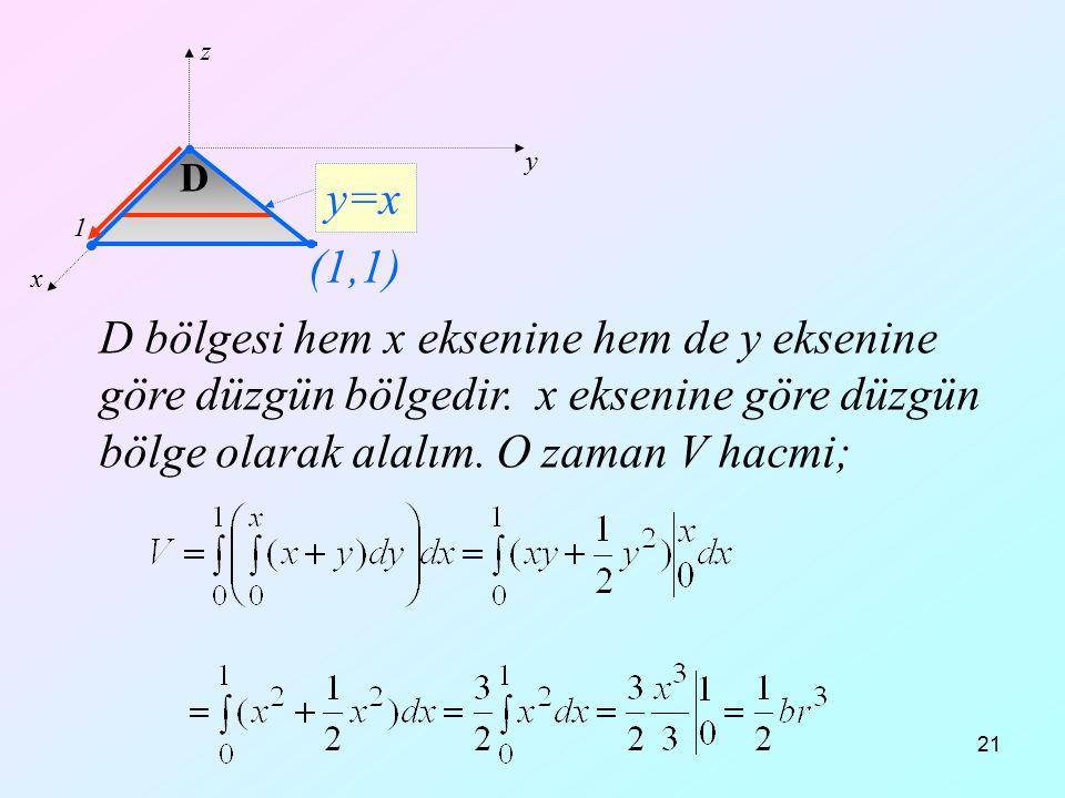 21 D bölgesi hem x eksenine hem de y eksenine göre düzgün bölgedir. x eksenine göre düzgün bölge olarak alalım. O zaman V hacmi; x y z y=x D 1 (1,1)