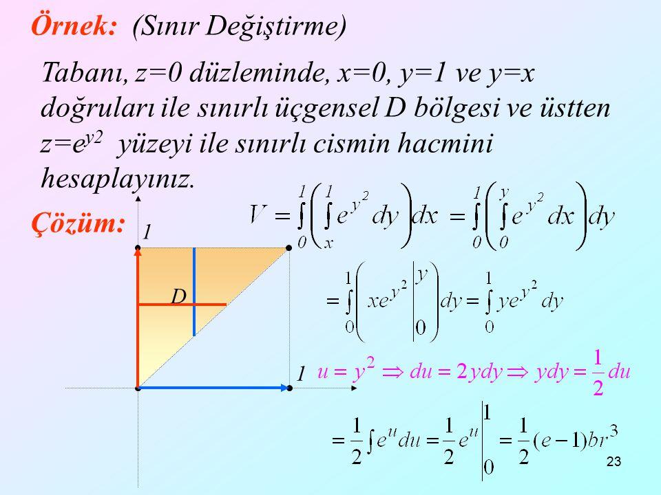 23 Örnek: (Sınır Değiştirme) Tabanı, z=0 düzleminde, x=0, y=1 ve y=x doğruları ile sınırlı üçgensel D bölgesi ve üstten z=e y2 yüzeyi ile sınırlı cism