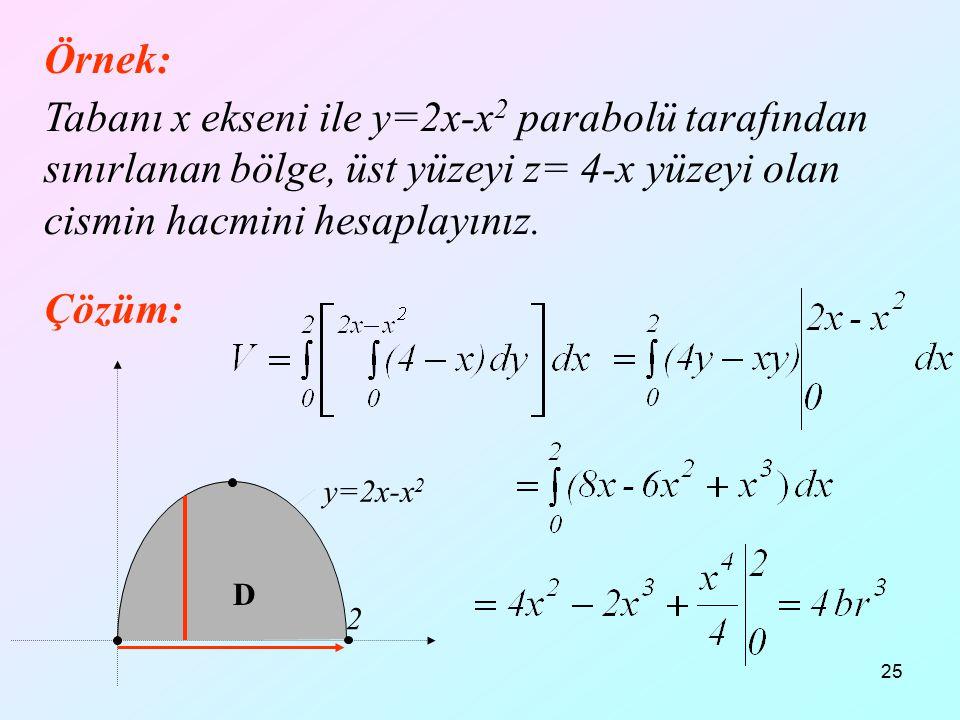 25 Örnek: Tabanı x ekseni ile y=2x-x 2 parabolü tarafından sınırlanan bölge, üst yüzeyi z= 4-x yüzeyi olan cismin hacmini hesaplayınız. Çözüm: 2 D y=2