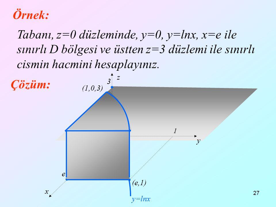 27 Örnek: Tabanı, z=0 düzleminde, y=0, y=lnx, x=e ile sınırlı D bölgesi ve üstten z=3 düzlemi ile sınırlı cismin hacmini hesaplayınız. Çözüm: x y z 1