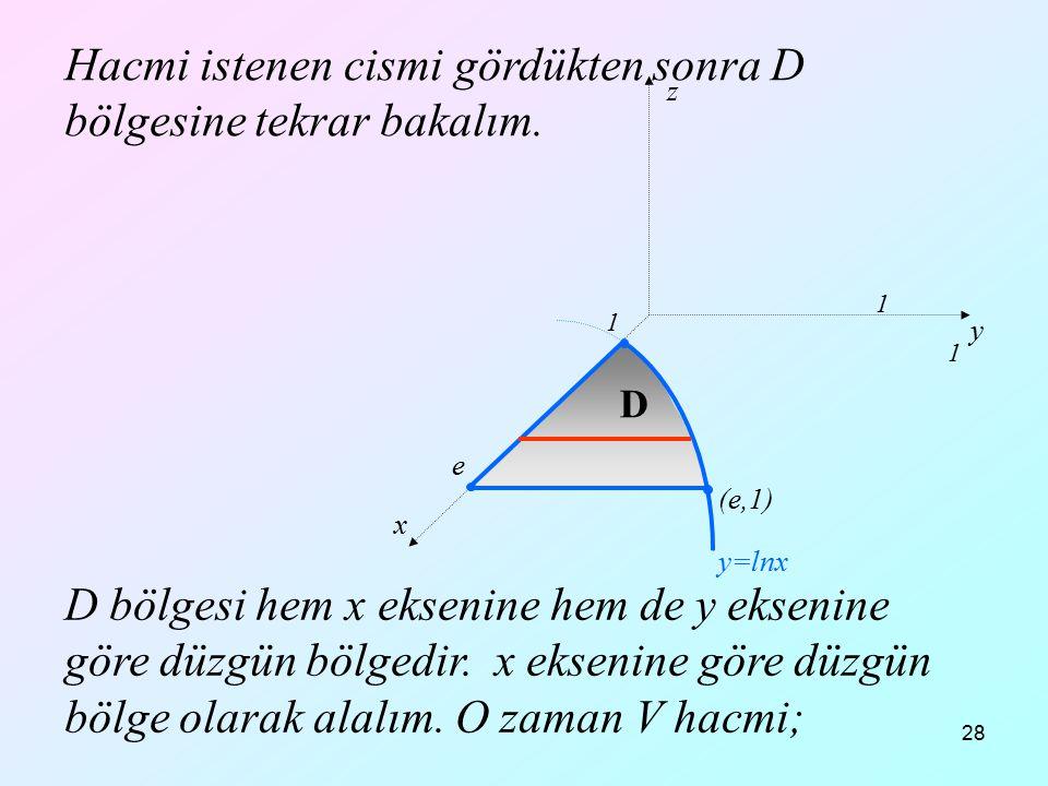 28 Hacmi istenen cismi gördükten sonra D bölgesine tekrar bakalım. D bölgesi hem x eksenine hem de y eksenine göre düzgün bölgedir. x eksenine göre dü