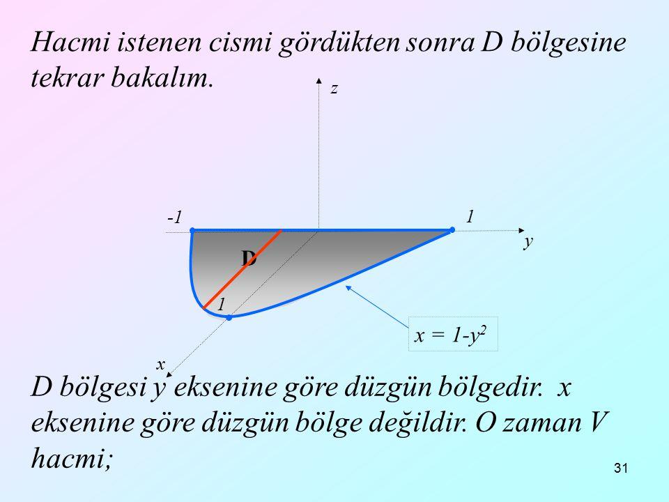 31 Hacmi istenen cismi gördükten sonra D bölgesine tekrar bakalım. D bölgesi y eksenine göre düzgün bölgedir. x eksenine göre düzgün bölge değildir. O