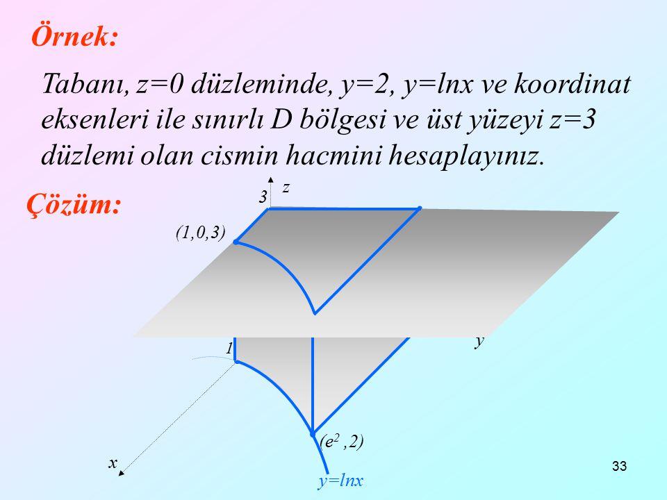 33 Örnek: Tabanı, z=0 düzleminde, y=2, y=lnx ve koordinat eksenleri ile sınırlı D bölgesi ve üst yüzeyi z=3 düzlemi olan cismin hacmini hesaplayınız.