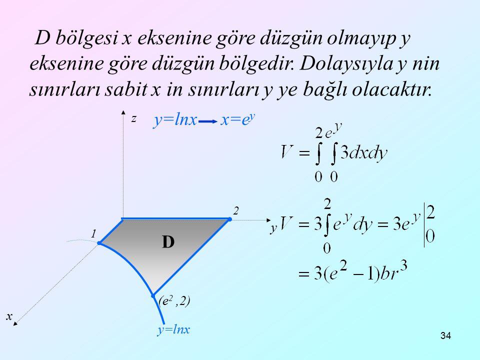34 D bölgesi x eksenine göre düzgün olmayıp y eksenine göre düzgün bölgedir. Dolaysıyla y nin sınırları sabit x in sınırları y ye bağlı olacaktır. x y