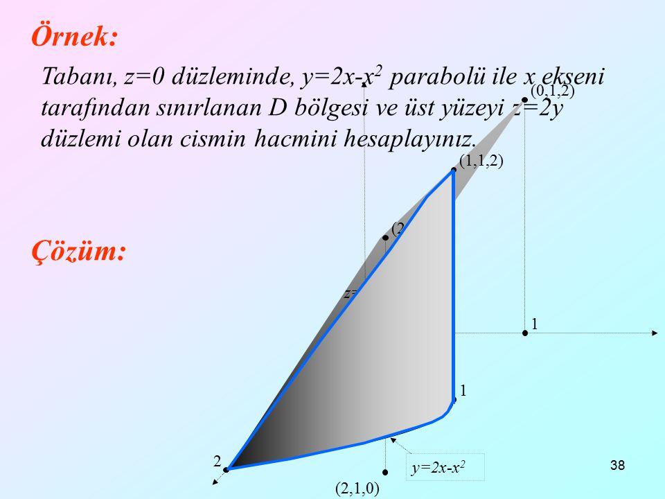 38 Örnek: Tabanı, z=0 düzleminde, y=2x-x 2 parabolü ile x ekseni tarafından sınırlanan D bölgesi ve üst yüzeyi z=2y düzlemi olan cismin hacmini hesapl