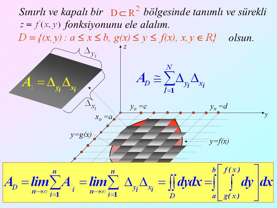 15 x y z Örnek: Tabanı, z=0 düzleminde x=0, x=1, y=1, y=2 doğruları ile sınırlı D bölgesi, üstten z = 2x düzlemi ile sınırlı cismin hacmini hesaplayınız.