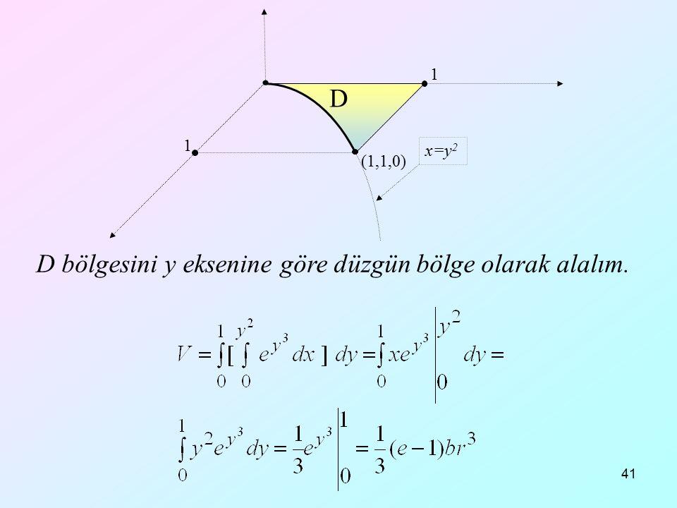 41 D bölgesini y eksenine göre düzgün bölge olarak alalım. (1,1,0) 1 1 D x=y 2