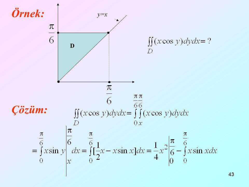 43 Örnek: Çözüm: D y=x