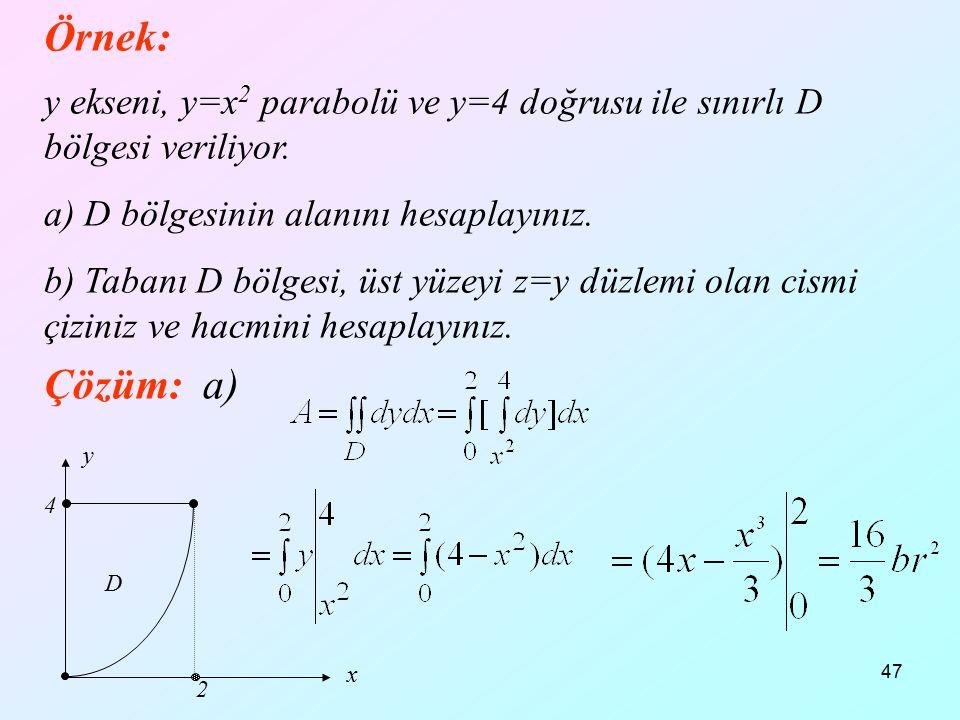 47 Örnek: y ekseni, y=x 2 parabolü ve y=4 doğrusu ile sınırlı D bölgesi veriliyor. a) D bölgesinin alanını hesaplayınız. b) Tabanı D bölgesi, üst yüze