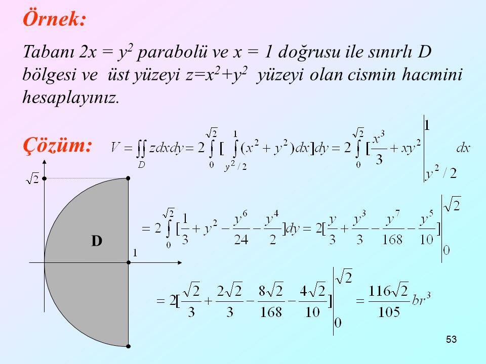 53 Örnek: Tabanı 2x = y 2 parabolü ve x = 1 doğrusu ile sınırlı D bölgesi ve üst yüzeyi z=x 2 +y 2 yüzeyi olan cismin hacmini hesaplayınız. Çözüm: D