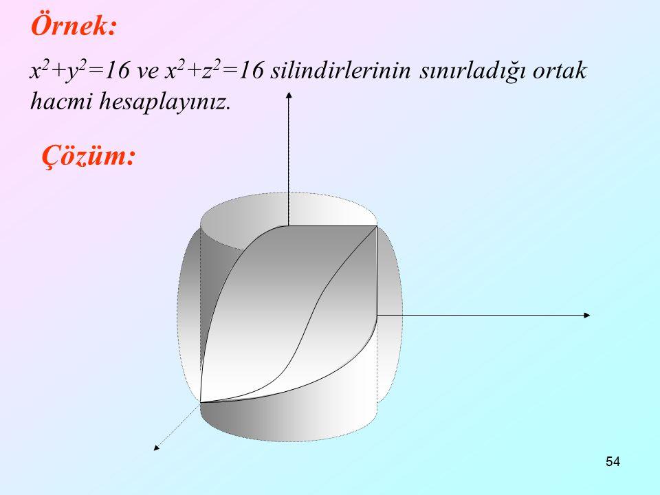 54 Örnek: x 2 +y 2 =16 ve x 2 +z 2 =16 silindirlerinin sınırladığı ortak hacmi hesaplayınız. Çözüm: