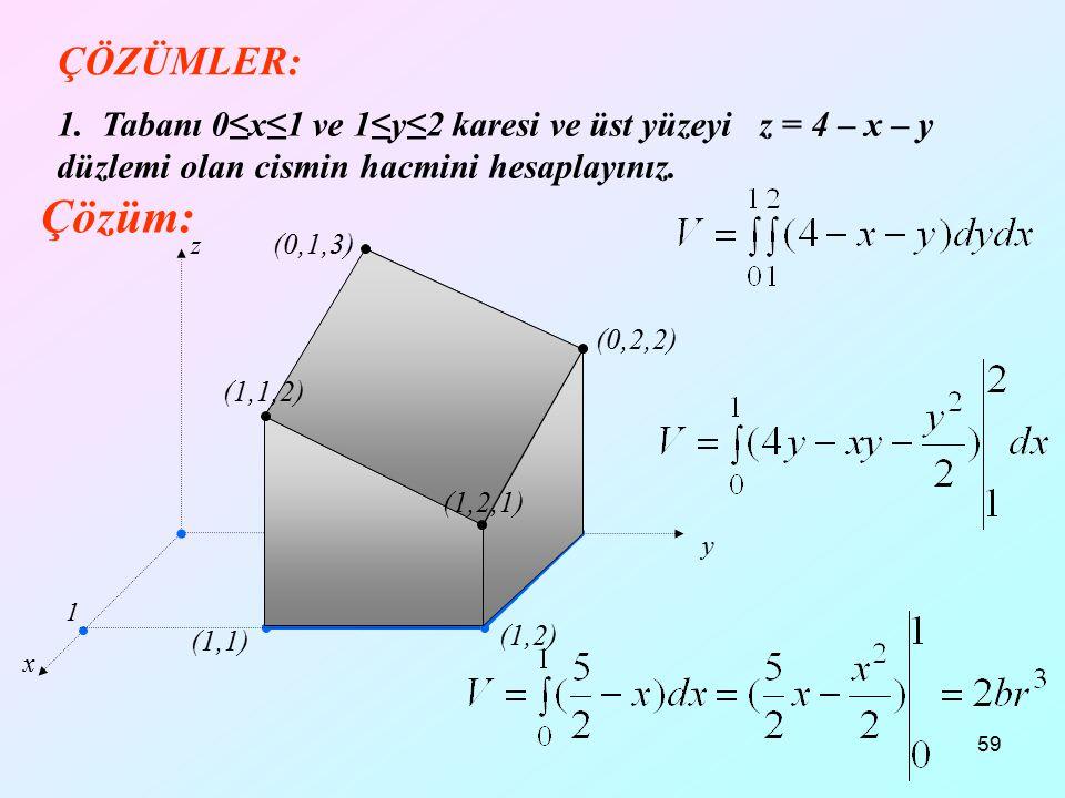 59 ÇÖZÜMLER: 1. Tabanı 0≤x≤1 ve 1≤y≤2 karesi ve üst yüzeyi z = 4 – x – y düzlemi olan cismin hacmini hesaplayınız. x y z Çözüm: D 1 1 2 (1,1) (1,2) (0