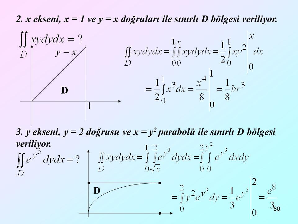 60 2. x ekseni, x = 1 ve y = x doğruları ile sınırlı D bölgesi veriliyor. D 1 y = x 3. y ekseni, y = 2 doğrusu ve x = y 2 parabolü ile sınırlı D bölge