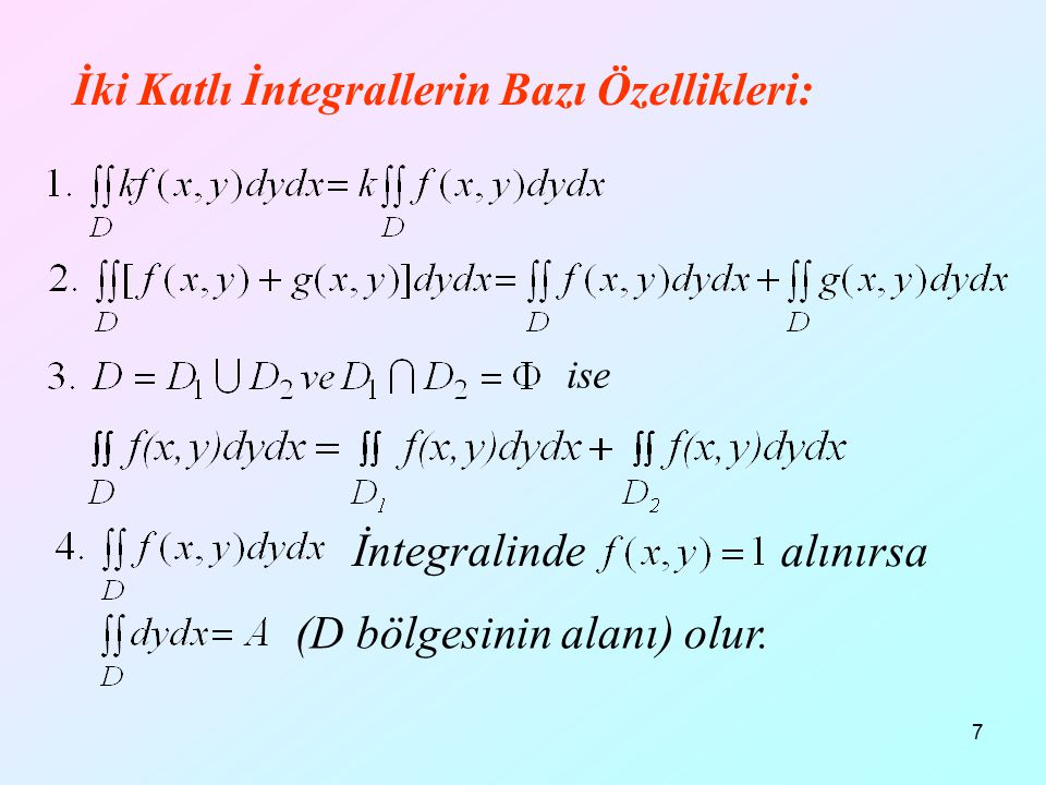 18 x+y=1 x+z=1 y+z=1 x+y+z=1 x y z D bölgesi hem x eksenine hem de y eksenine göre düzgün bölgedir.