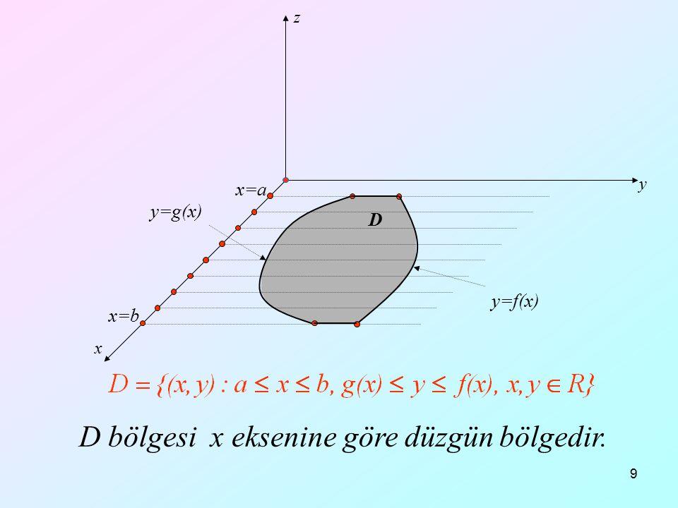 20 x y z Örnek: Tabanı z=0 düzleminde y=0, y=x, x=1 doğruları ile sınırlı D bölgesi ve üstten z=x+y düzlemi ile sınırlı cismin hacmini hesaplayınız.