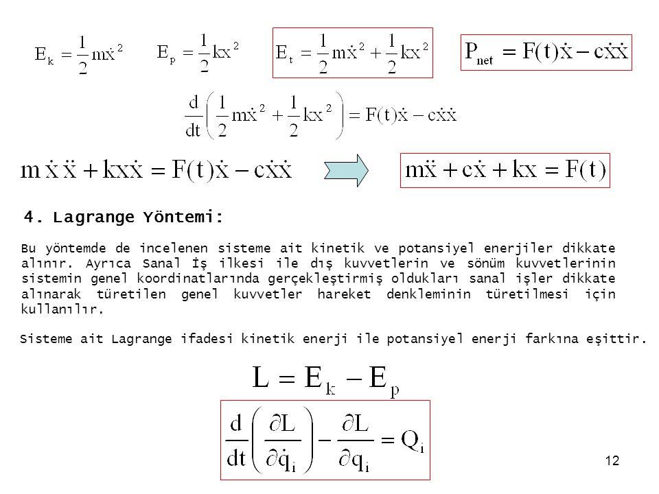 12 4. Lagrange Yöntemi: Bu yöntemde de incelenen sisteme ait kinetik ve potansiyel enerjiler dikkate alınır. Ayrıca Sanal İş ilkesi ile dış kuvvetleri