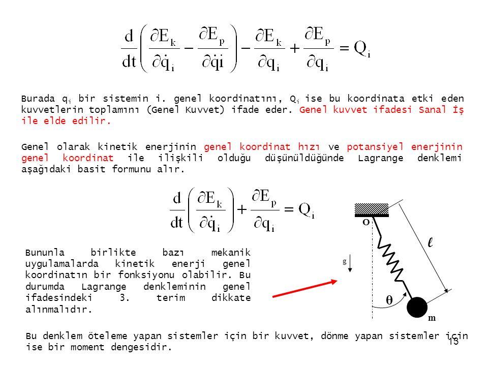 13 Burada q i bir sistemin i. genel koordinatını, Q i ise bu koordinata etki eden kuvvetlerin toplamını (Genel Kuvvet) ifade eder. Genel kuvvet ifades