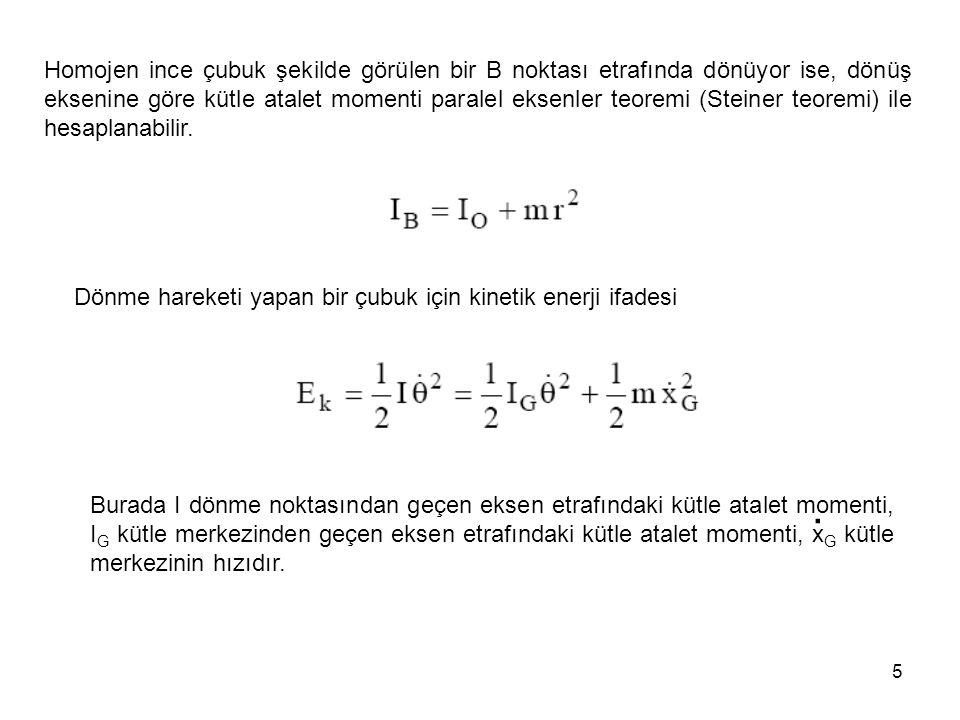 5 Homojen ince çubuk şekilde görülen bir B noktası etrafında dönüyor ise, dönüş eksenine göre kütle atalet momenti paralel eksenler teoremi (Steiner t