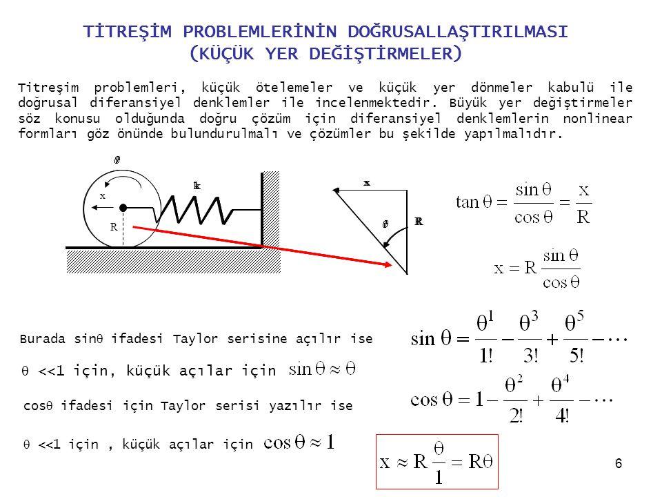 17 x 2 için Lagrange denklemi yazılır ise, Hareket denklemleri matris formunda yazılır ise Lineer sistemler için Kütle, Sönüm ve Direngenlik matrisleri simetriktir.