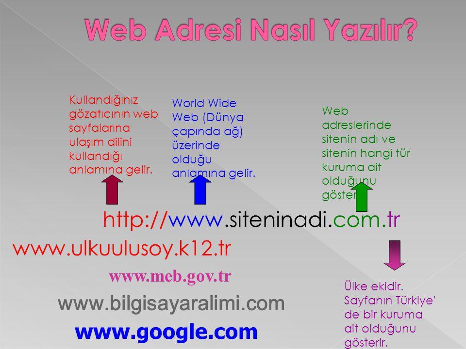 http://www.siteninadi.com.tr Kullandığınız gözatıcının web sayfalarına ulaşım dilini kullandığı anlamına gelir. World Wide Web (Dünya çapında ağ) üzer